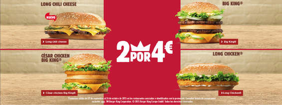 Ofertas de Burger King, 2 por 4€