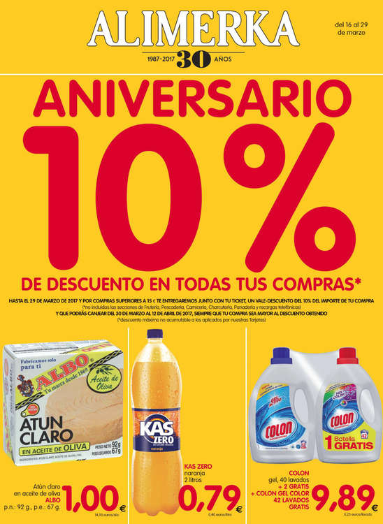 Ofertas de Alimerka, Aniversario 10%