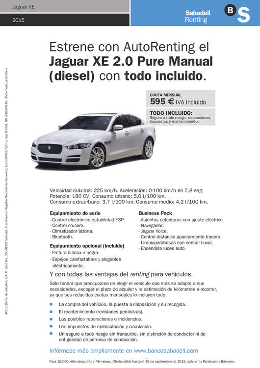 Ofertas de Banco Sabadell, Renting Jaguar