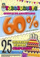 Ofertas de Todojuguete, 60% en 2ª unidad ¡25 aniversario!