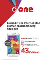 Ofertas de Vodafone, Euskadin One Internet-ekin eraman ezazu Samsung hau doan