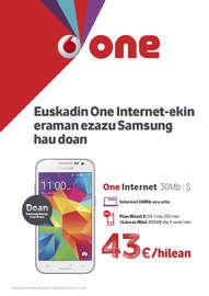 Euskadin One Internet-ekin eraman ezazu Samsung hau doan