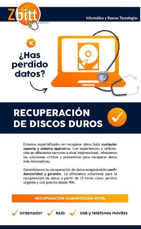 Ofertas de Zbitt, Recuperación de discos duros