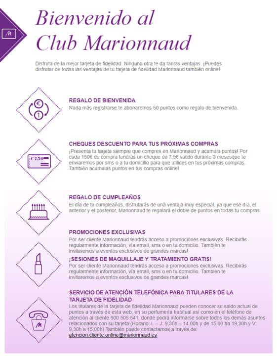 Ofertas de Marionnaud, Bienvenido al Club Marionnaud