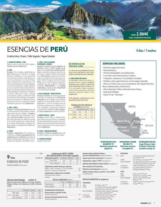 Ofertas de Transrutas, Perú