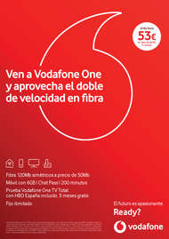 Ven a Vodafone One y aprovecha el doble de velocidad en fibra