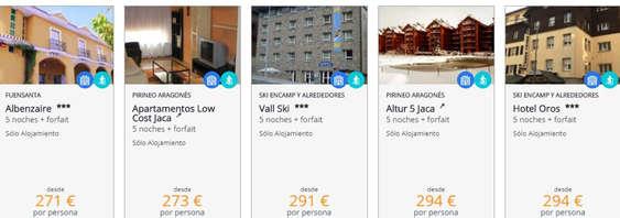 Ofertas de Barceló Viajes, Ofertas para la nieve