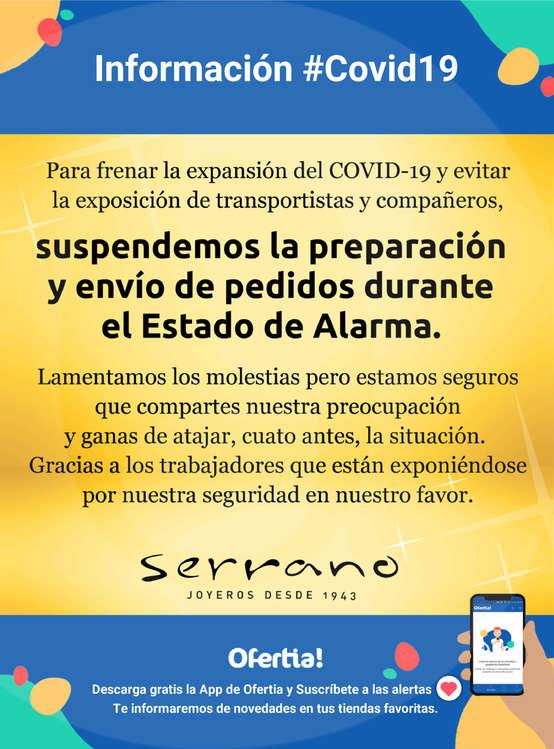 Ofertas de Joyería Serrano, Información Joyería Serrano #Covid19